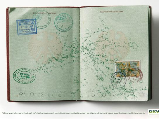 DKV Print Ad -  Infectious Passports, Yellow fever
