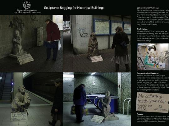 German Foundation for Monument Protection Ambient Ad -  Begging sculptures