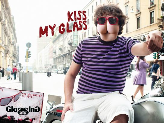 Glassing Print Ad -  Kiss my glass, 1