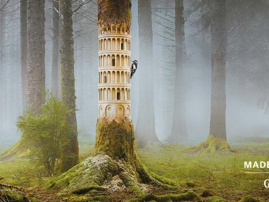 Guinness Outdoor Ad -  Made of More, Woodpecker