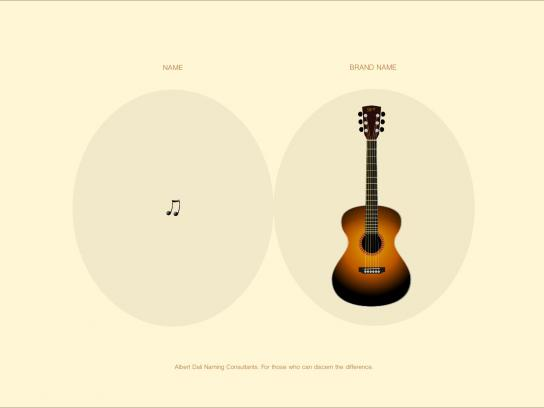 Albert Dali Print Ad -  Name vs Brand Name, Guitar
