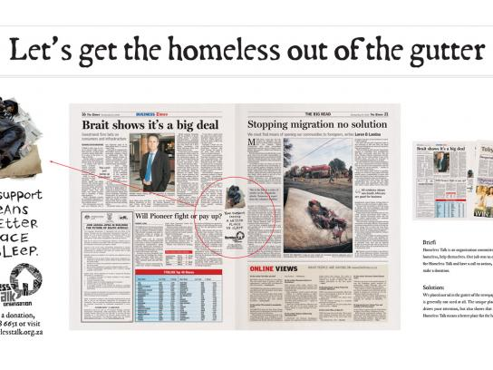 Homeless Talk Organisation Print Ad -  Gutter Child