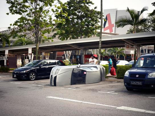 DBS Bank Ambient Ad -  Expect the Unexpected. Halved Car?