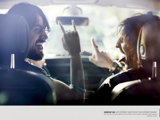 Handicap Car Print Ad -  Rock on