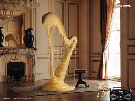 Lasonic Print Ad -  Big Fat Sound, Harp