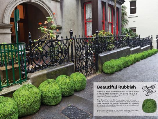 Auckland City Council Ambient Ad -  Beautify your city, Bushy hedge rubbish bags