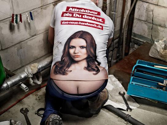 The German Crafts Print Ad -  The Craftsmen's Boobs, Heating repairman