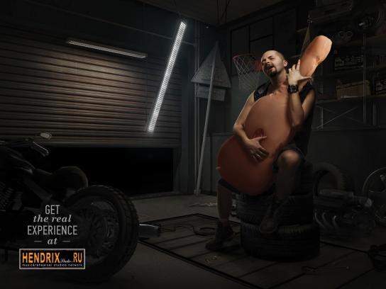 Hendrix Studios Print Ad -  Inflatable guitar, Garage