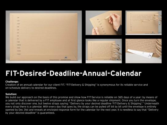 Fit Direct Ad -  Desired Deadline Annual Calendar & Mailing
