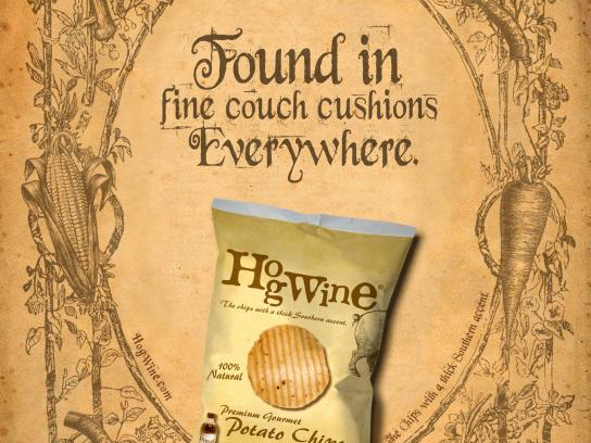 HogWine Potato Chips Print Ad -  Couch Cushion