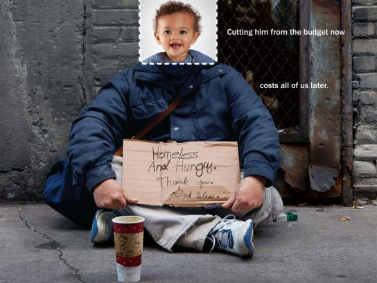 Children's Defense Fund Print Ad -  Be Careful What You Cut, Homeless