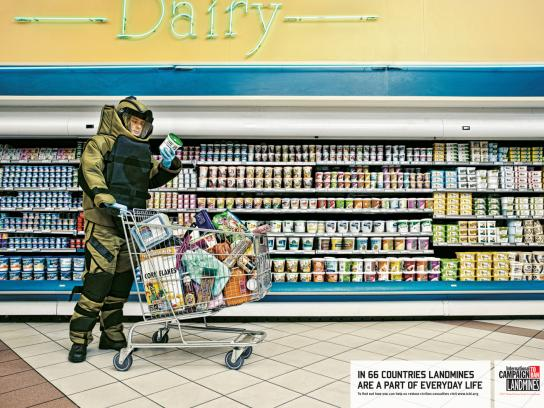 International Campaign to Ban Landmines Print Ad -  Daily Chores, Shopping Trolley