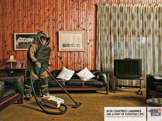 International Campaign to Ban Landmines Print Ad -  Daily Chores, Vacuum Cleaner