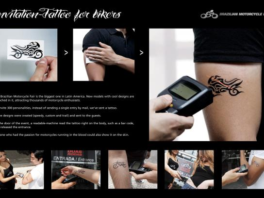 Brazilian Motorcycle Fair Ambient Ad -  Invitation-Tattoo