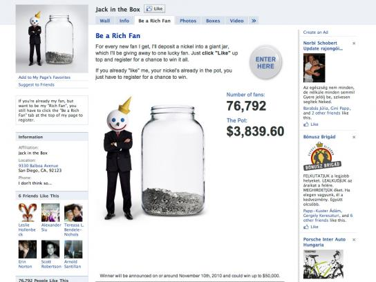 Jack in the Box Digital Ad -  Be a Rich Facebook Fan