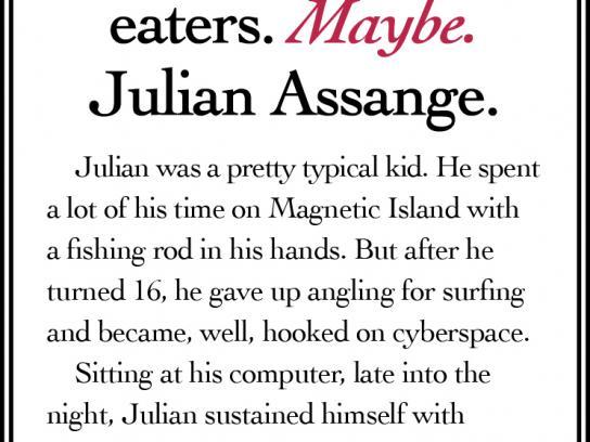 Jalna Yoghourt Print Ad -  Julian Assange