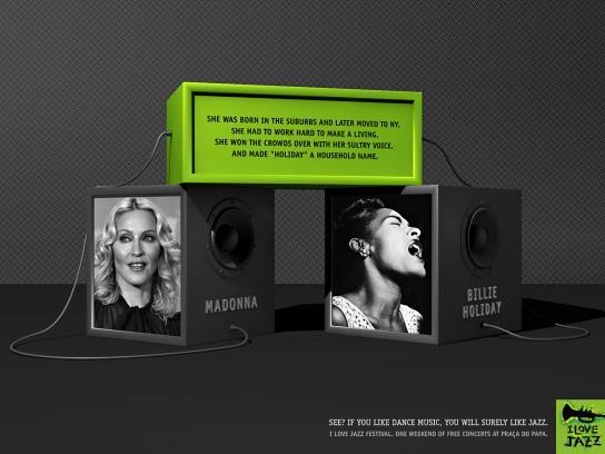 I Love Jazz Print Ad -  Madonna