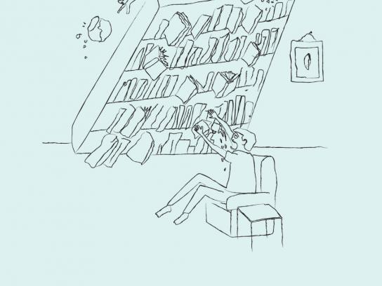Kindle Print Ad -  Bookshelf