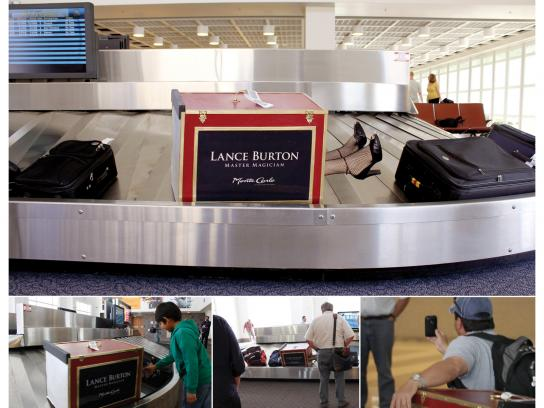 Lance Burton Ambient Ad -  Airport Trunk Installation