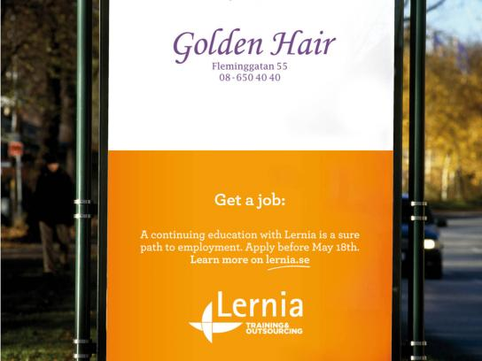 Lernia Outdoor Ad -  Cut your hair and get a job, 1