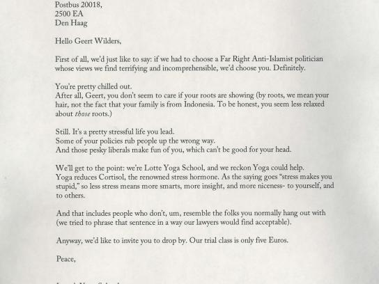 Lotte Yoga School Print Ad -  Letter to Geert