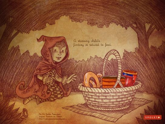 Spoleto Print Ad -  Food Fantasy, Little Red Riding Hood
