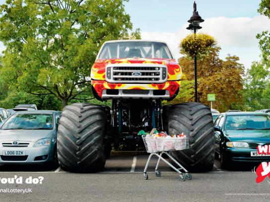 The National lottery UK Outdoor Ad -  Monster truck