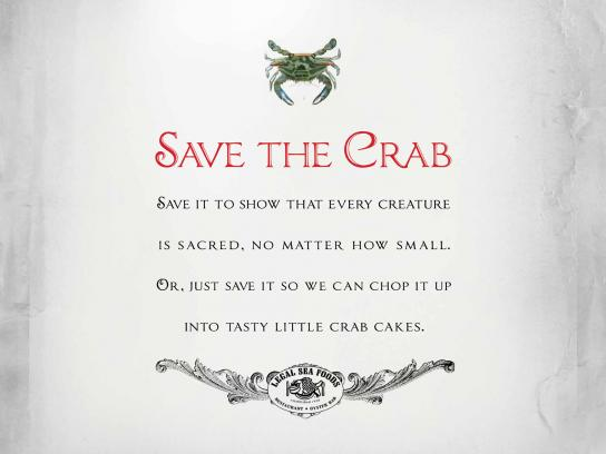 Legal Sea Foods Print Ad -  Save the Crab