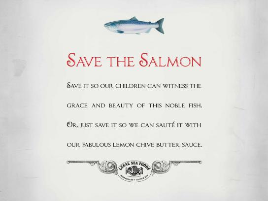 Legal Sea Foods Print Ad -  Save the Salmon