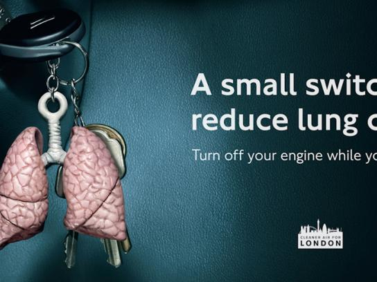 Transport for London Print Ad -  No Idling, Lungs