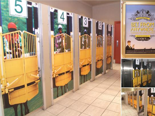 Luxbet Ambient Ad -  Bet from anywhere, toilet doors