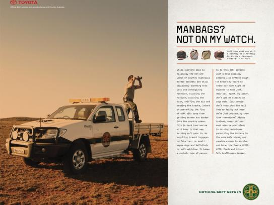Toyota Print Ad - Toyota 4WD Range, Country Australia Border Security - Nothing Soft Gets In, 1