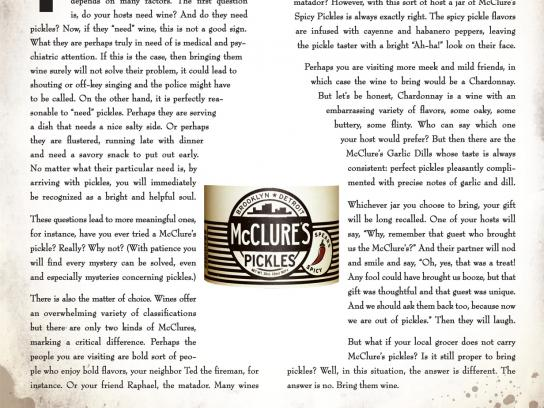 McClure's Pickles Print Ad -  When is it appropriate to bring pickles instead of wine?