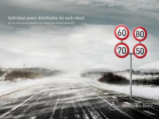 Mercedes Print Ad -  Traffic Sign Speed
