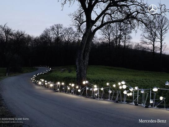 Mercedes Print Ad -  Cornering Light