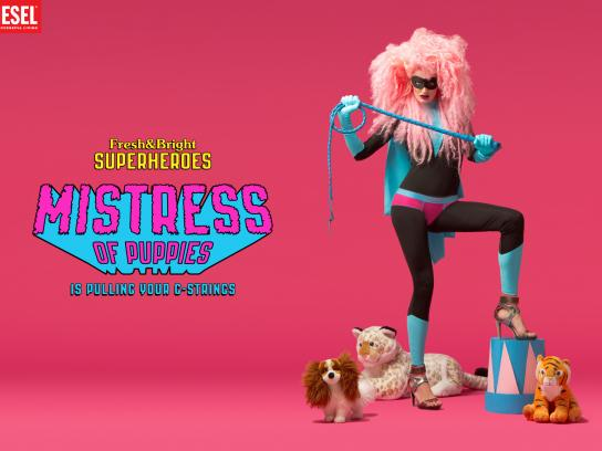 Diesel Print Ad -  Fresh & Bright Superheroes, Mistress of puppies