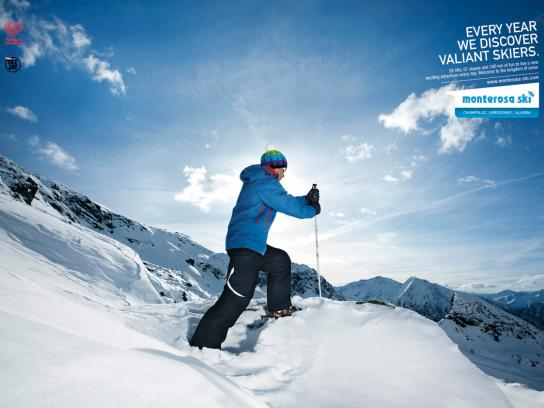 Monterosa Ski Print Ad -  The kingdom of snow, Discover