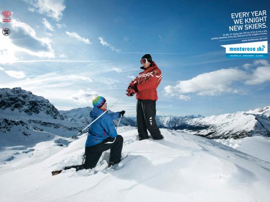 Monterosa Ski Print Ad -  The kingdom of snow, Proclame