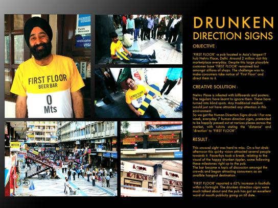 First Floor Bar and Restaurant Ambient Ad -  Drunken Direction Signs