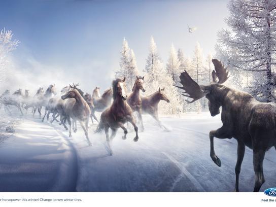 Ford Print Ad -  Moose vs Horses