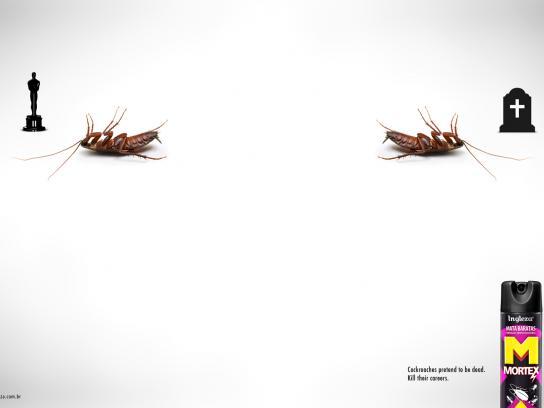 Mortex Print Ad -  Cockroaches pretend to be dead