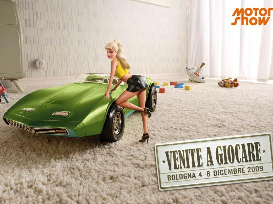 Motor Show Print Ad -  Blonde girl