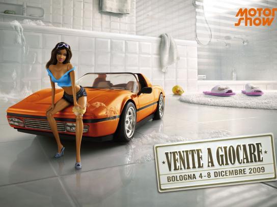 Motor Show Print Ad -  Brunette girl