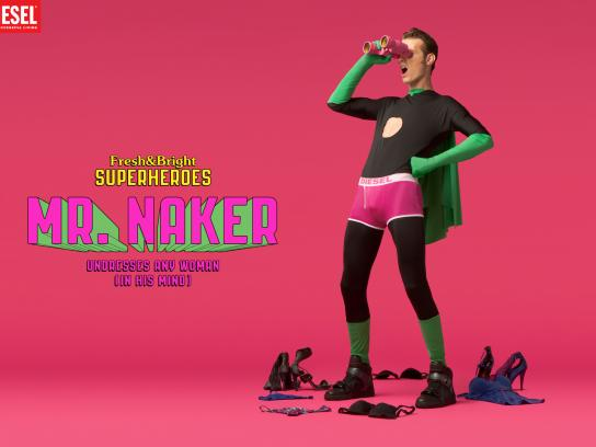 Diesel Print Ad -  Fresh & Bright Superheroes, Naker