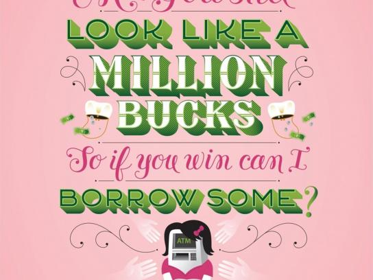New York Lottery Print Ad -  Million Bucks
