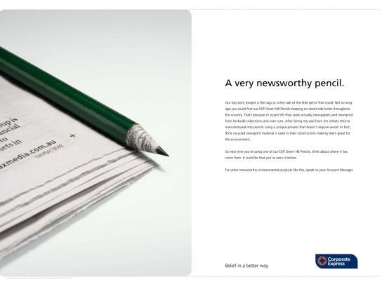Go Green Guide Print Ad -  Newspaper Pencil