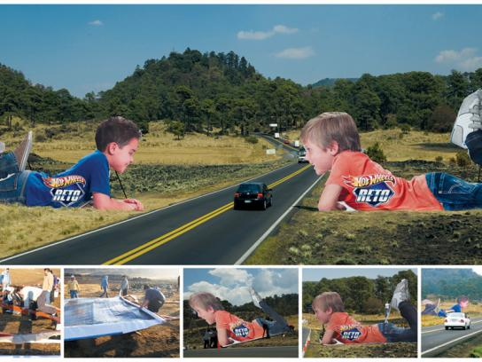 Hot Wheels Outdoor Ad -  Child shaped structures on highway