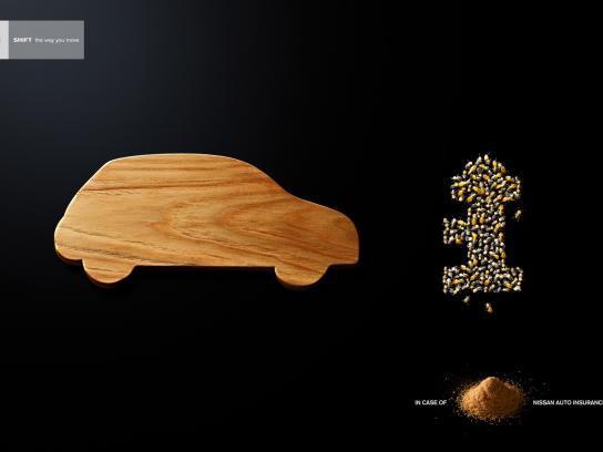 Nissan Print Ad -  Saw dust