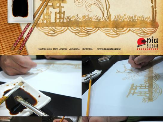 Niu Sushi Print Ad -  Advertisement painted with soy sauce