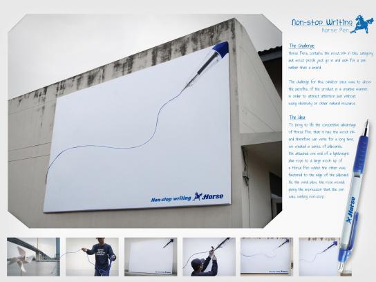 Horse pen Outdoor Ad -  Non-stop writing billboard